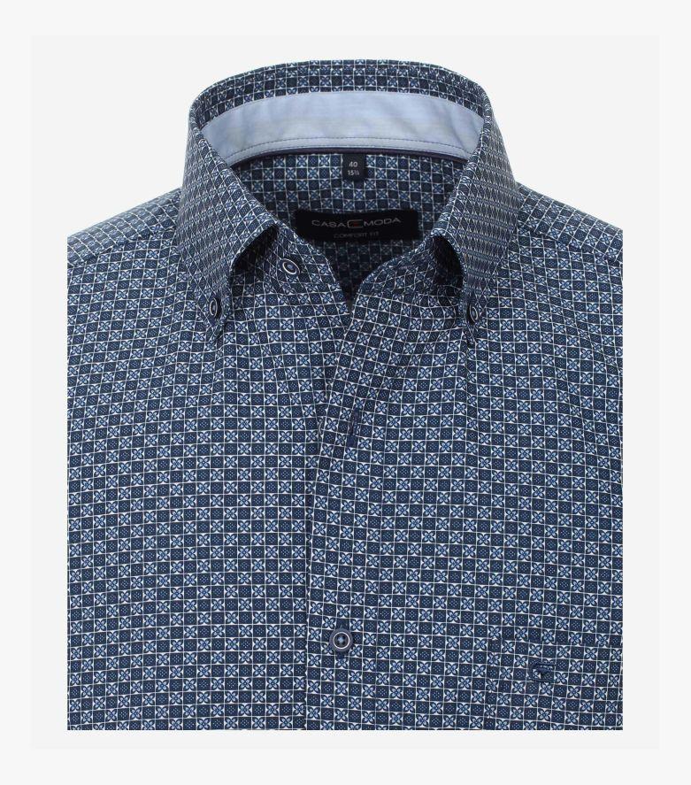 Businesshemd in sattes Dunkelblau Comfort Fit - CASAMODA