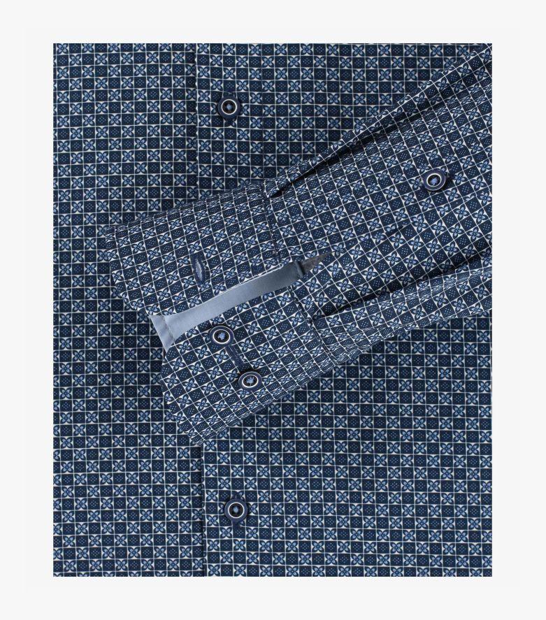 Businesshemd extra langer Arm 72cm in sattes Dunkelblau Comfort Fit - CASAMODA