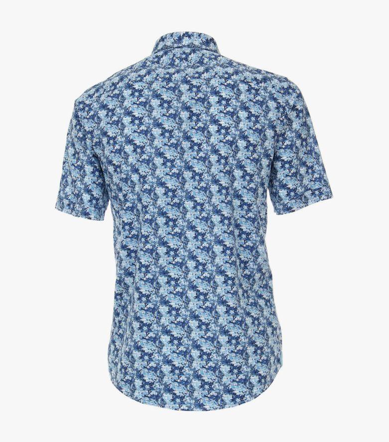 Freizeithemd Kurzarm in Mittelblau Casual Fit - CASAMODA