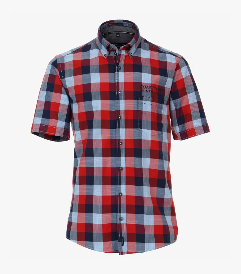 Freizeithemd Kurzarm in sattes Rot Casual Fit - CASAMODA