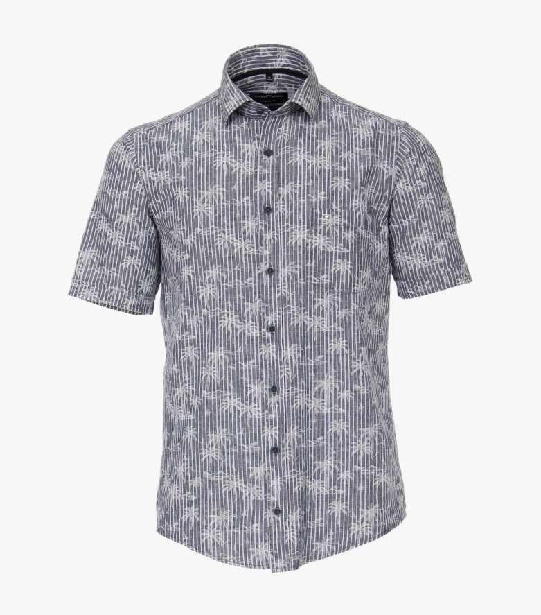 Leinenhemd Kurzarm in Mittelblau Casual Fit - CASAMODA
