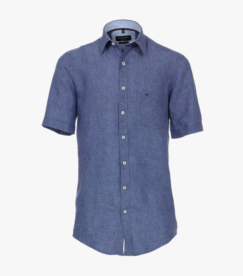 Leinenhemd in Aquadunkelblau Casual Fit - CASAMODA