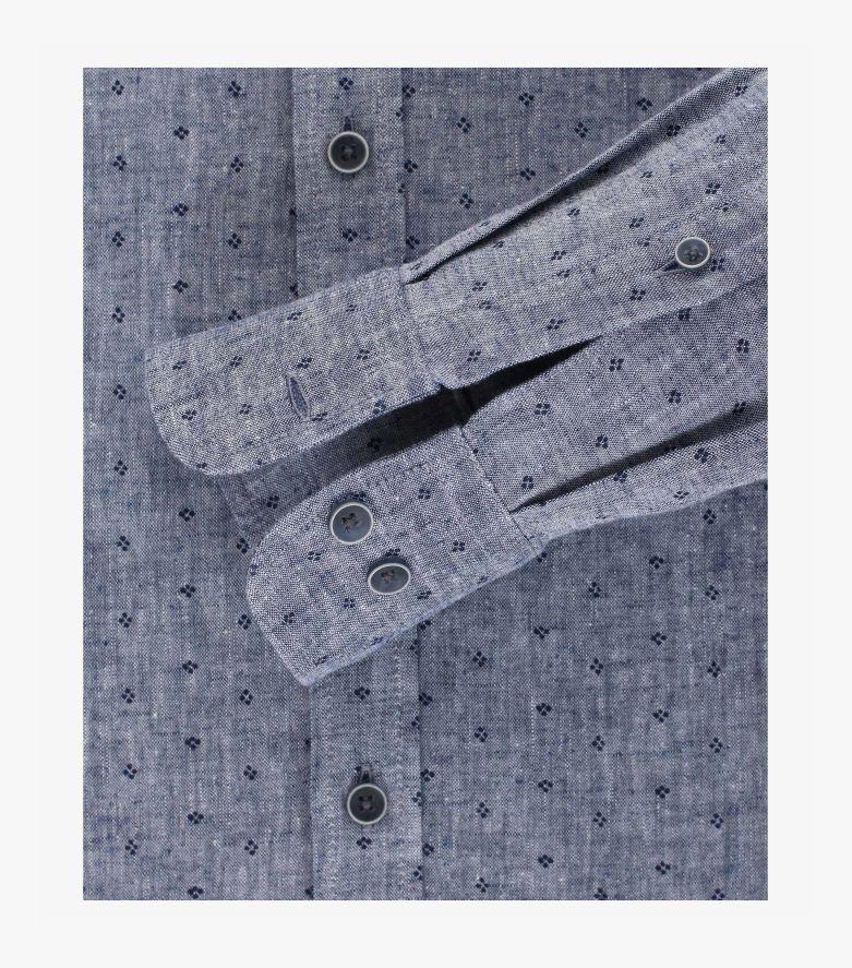 Leinenhemd in graues Mittelblau Casual Fit - CASAMODA