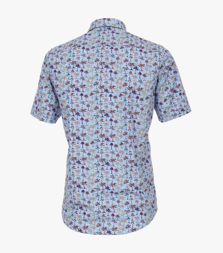 Freizeithemd Kurzarm in helles Mittelblau Casual Fit - CASAMODA