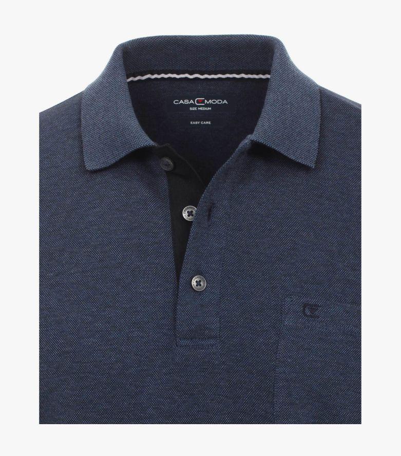 Polo-Shirt Langarm in graues Dunkelblau - CASAMODA