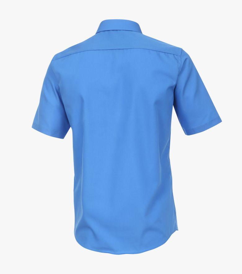 Businesshemd Kurzarm in sattes Mittelblau Modern Fit - CASAMODA