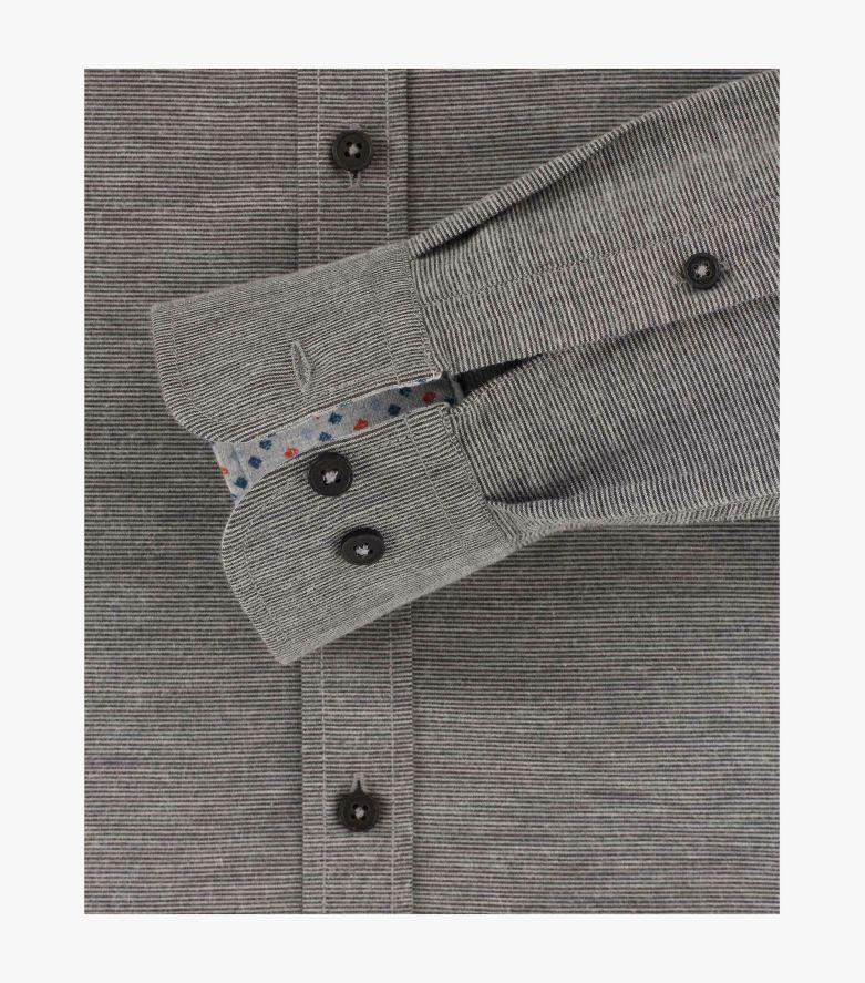 Flanellhemd extra langer Arm 72cm in Grau Casual Fit - CASAMODA
