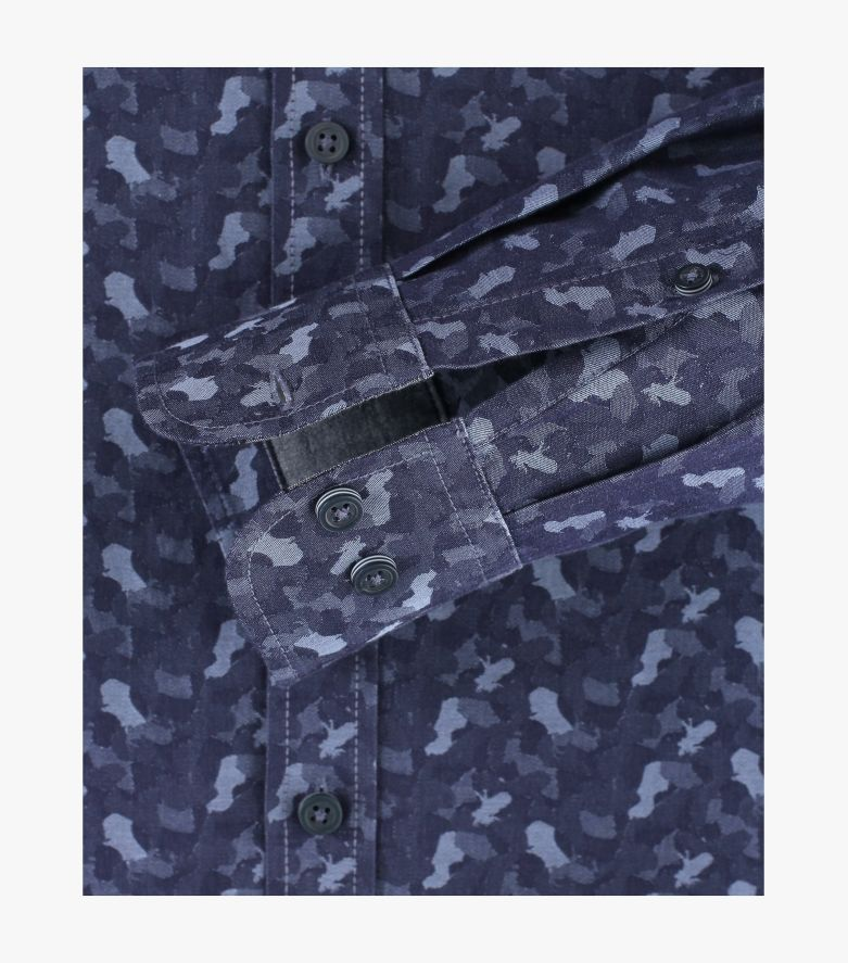 Freizeithemd in mittleres Dunkelblau Casual Fit - CASAMODA