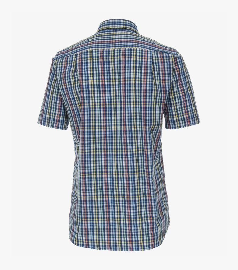 Freizeithemd Kurzarm in Mittelblau Comfort Fit - CASAMODA