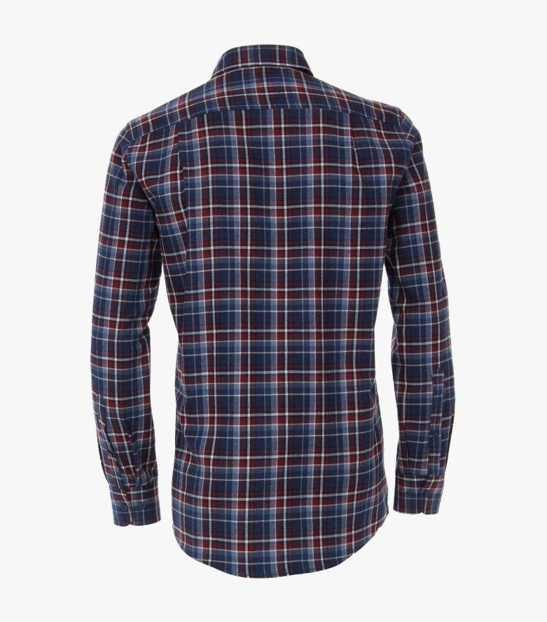 Flanellhemd in mittleres Dunkelblau Comfort Fit - CASAMODA