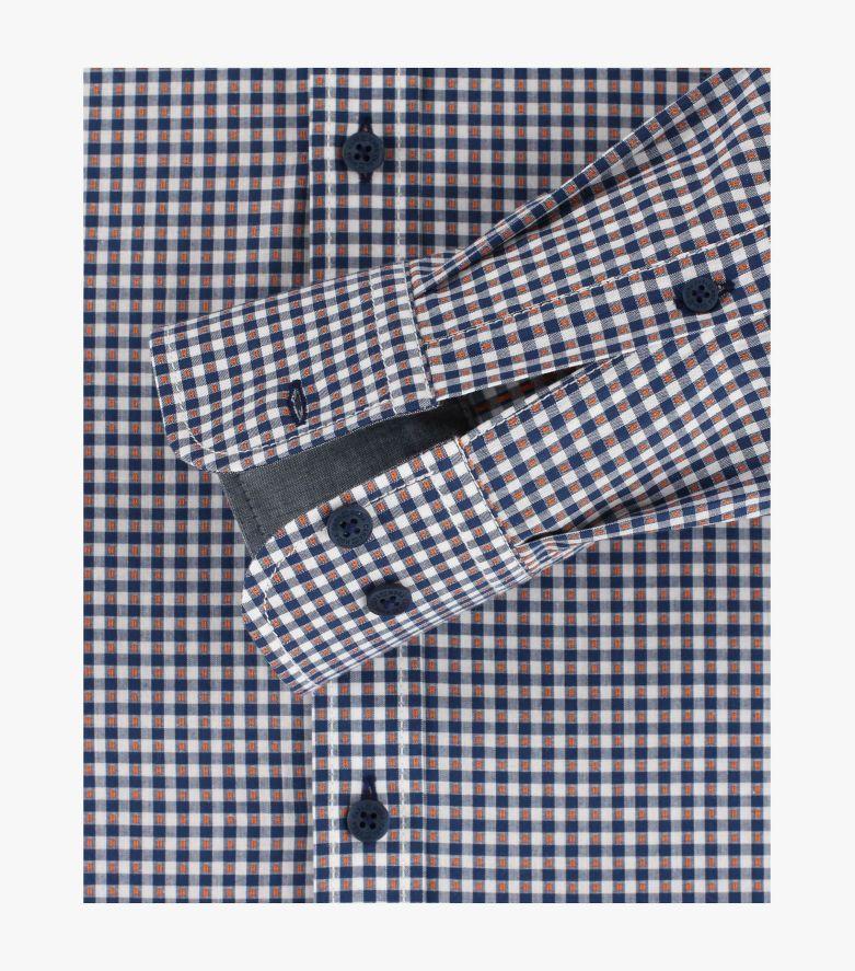 Freizeithemd extra langer Arm 72cm in dunkles Mittelblau Casual Fit - CASAMODA