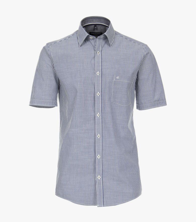 Freizeithemd Kurzarm in graues Mittelblau Comfort Fit - CASAMODA