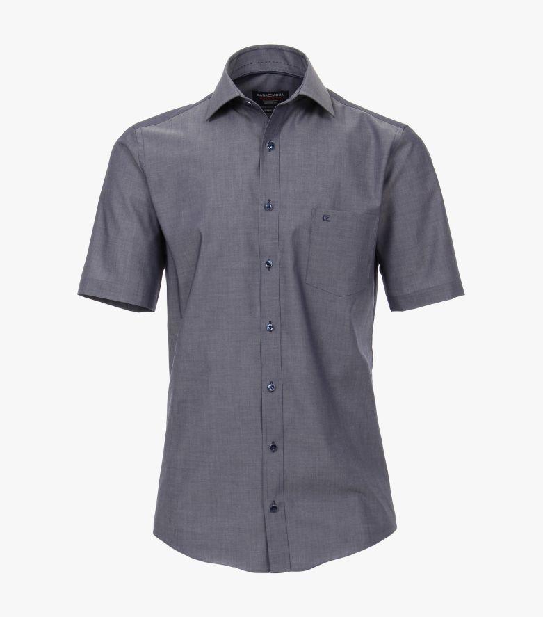 Businesshemd Kurzarm in graues Dunkelblau Modern Fit - CASAMODA