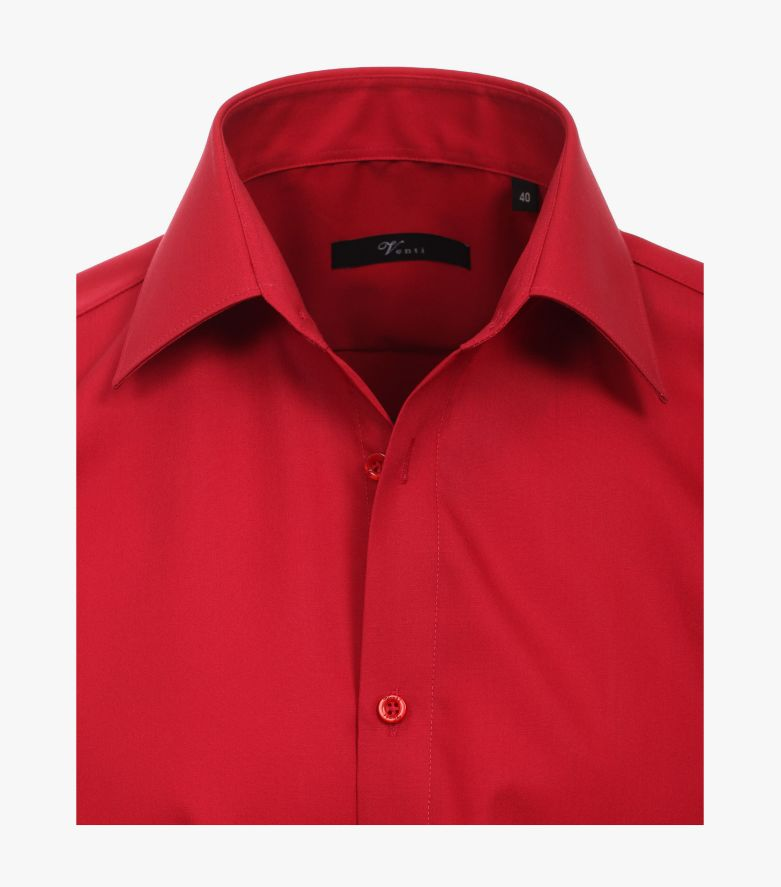Businesshemd Kurzarm in Rot Modern Fit - VENTI