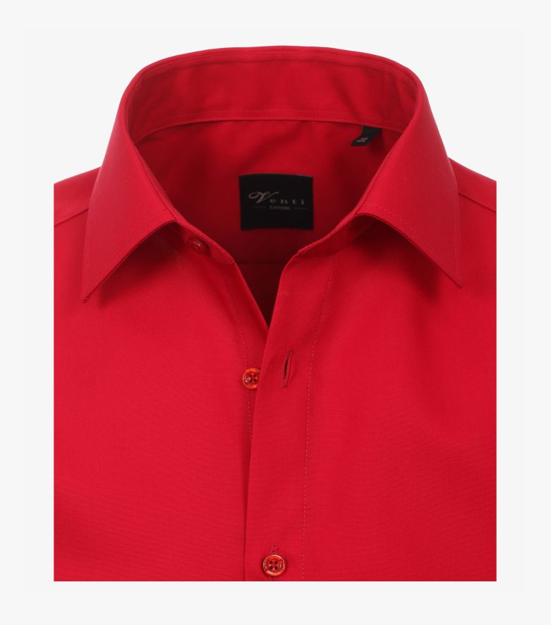 Businesshemd Kurzarm in sattes Rot Modern Fit - VENTI