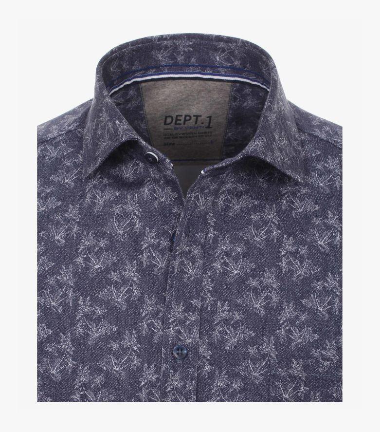 Freizeithemd Kurzarm in graues Dunkelblau Modern Fit - VENTI