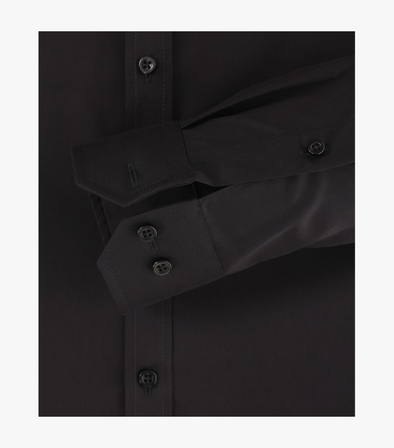 Businesshemd extra langer Arm 72cm in Schwarz Body Fit - VENTI
