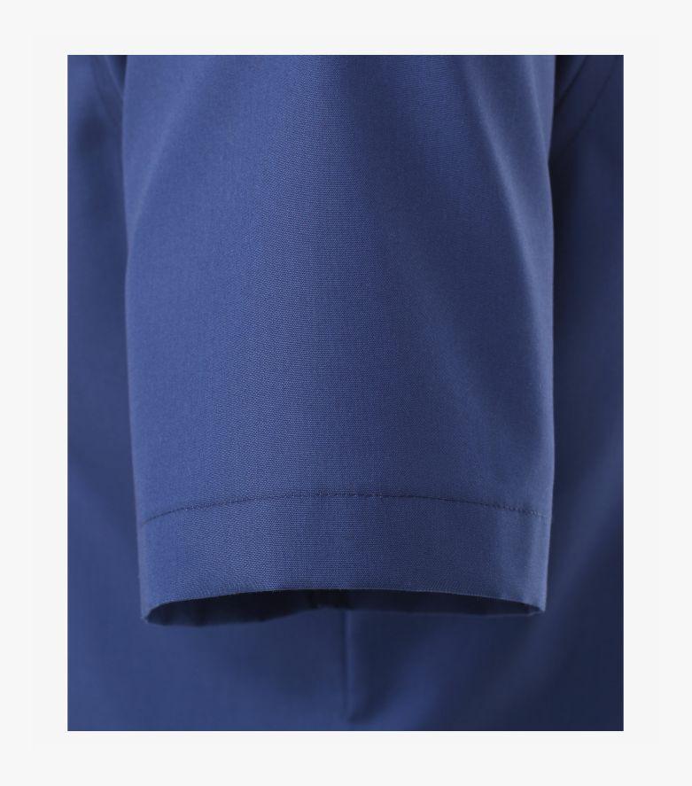 Businesshemd Kurzarm in sattes Mittelblau Slim Fit - VENTI