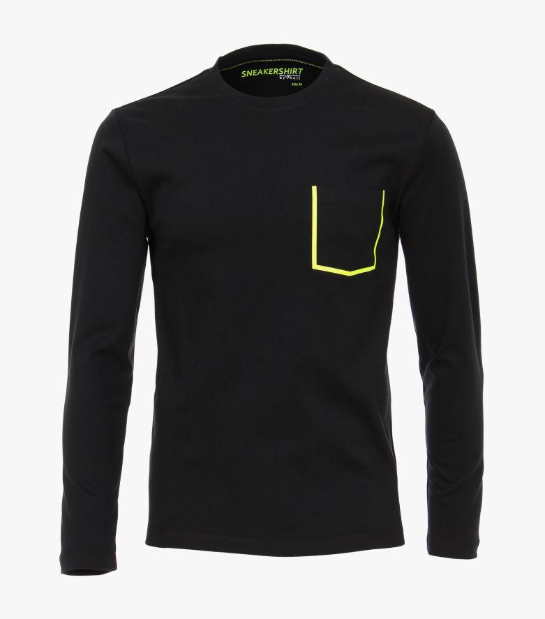 T-Shirt Langarm in Schwarz - VENTI