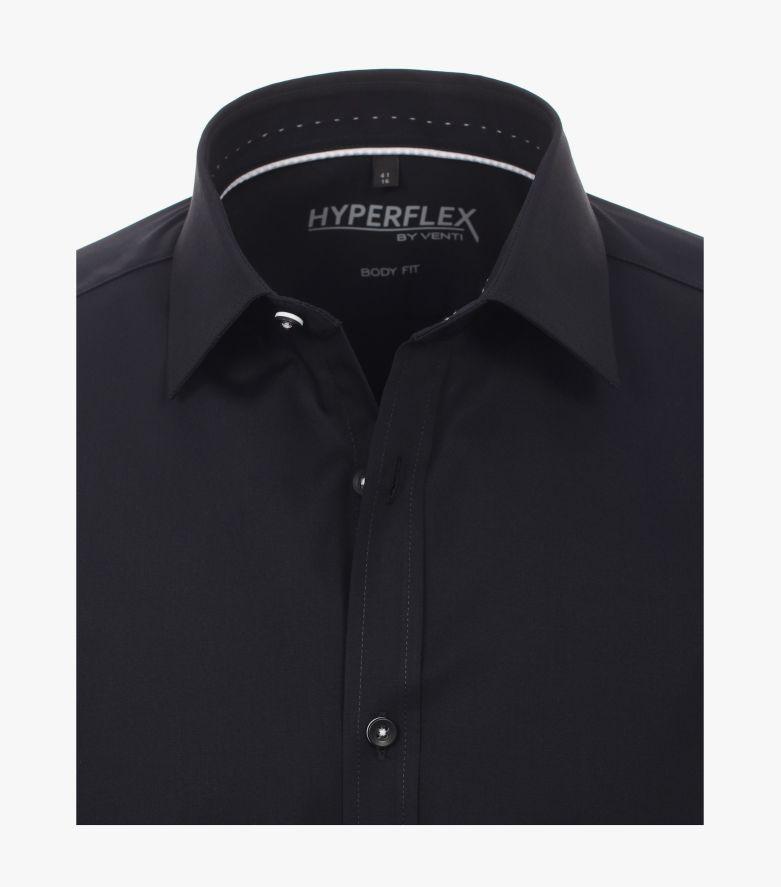 Businesshemd Hyperflex in Schwarz Body Fit - VENTI