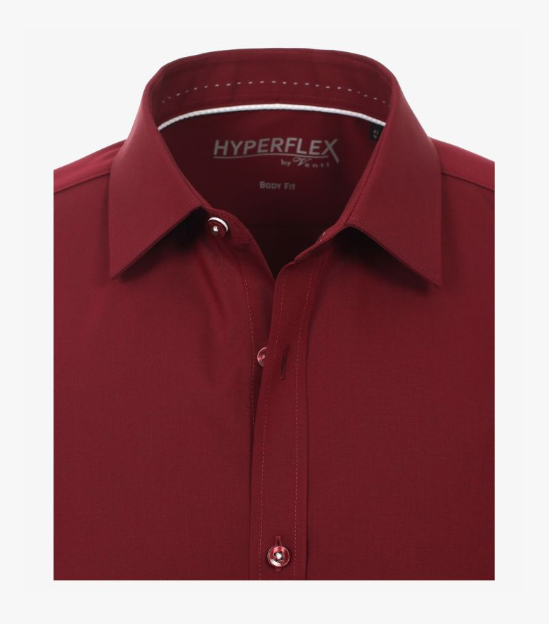 Businesshemd Hyperflex in Mittelrot Body Fit - VENTI