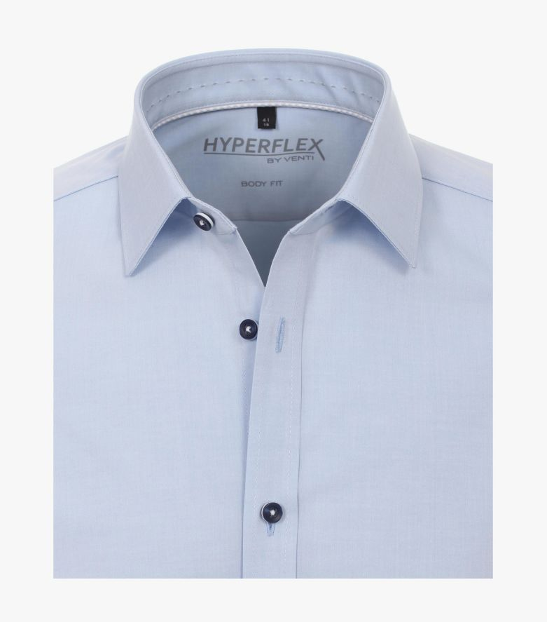 Businesshemd Hyperflex in Mittelblau Body Fit - VENTI