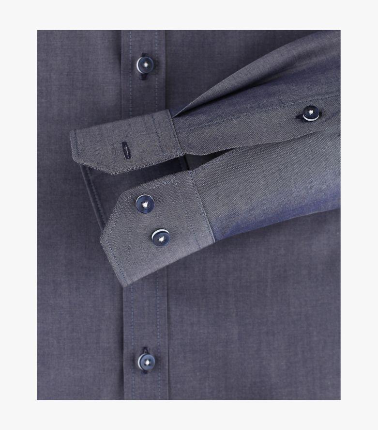 Businesshemd Hyperflex in graues Dunkelblau Body Fit - VENTI