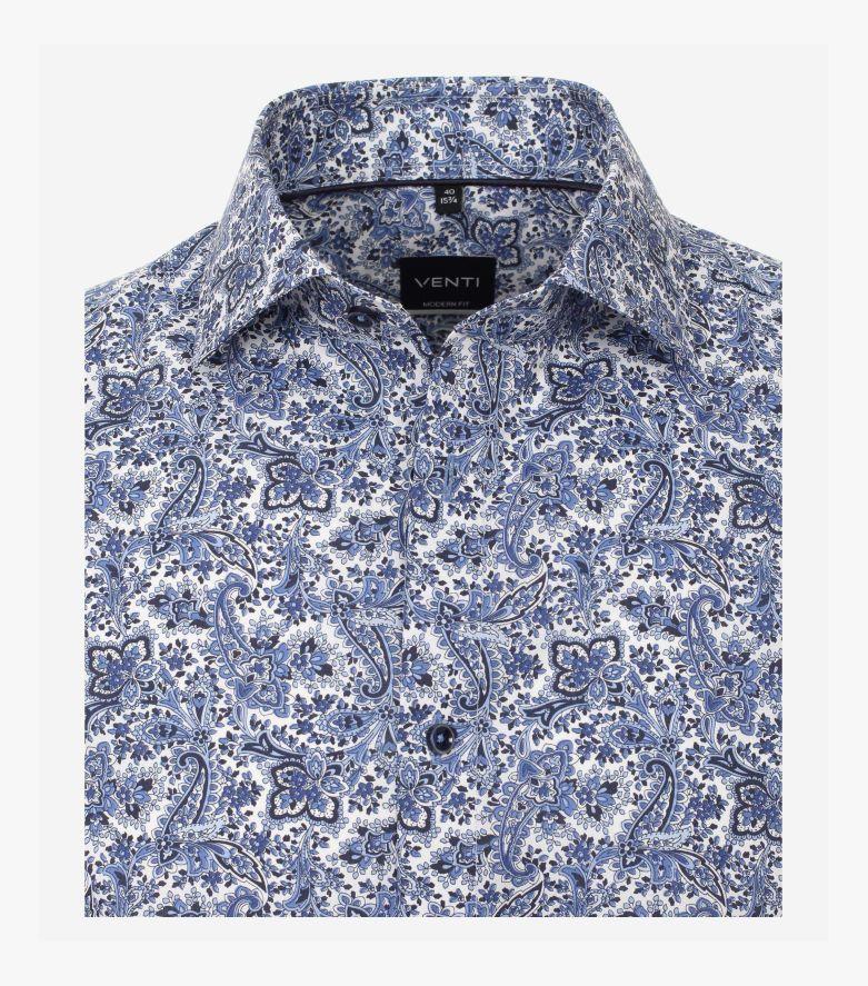 Businesshemd Kurzarm in Blau Modern Fit - VENTI