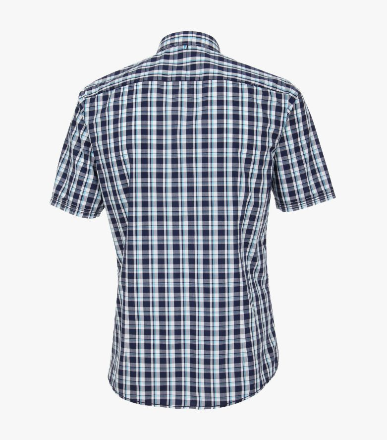 Freizeithemd Kurzarm in graues Dunkelblau Slim Fit Stretch - VENTI