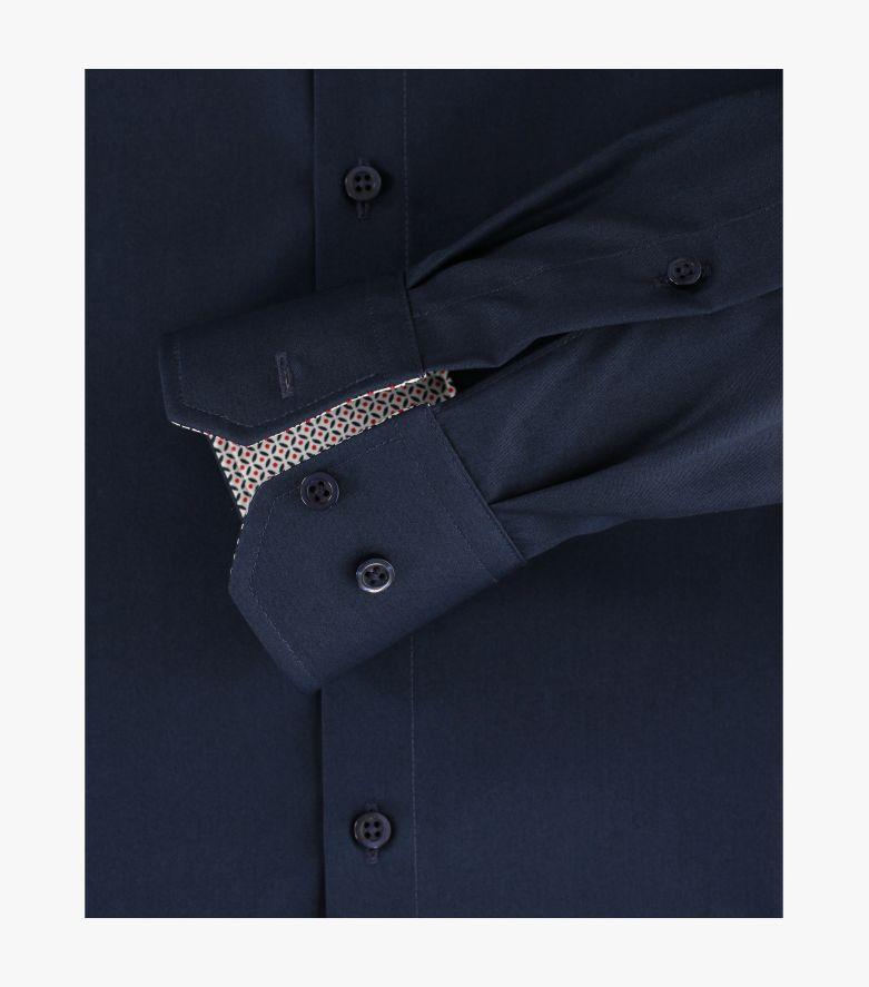 Businesshemd extra langer Arm 72cm in sattes Dunkelblau Modern Fit - VENTI