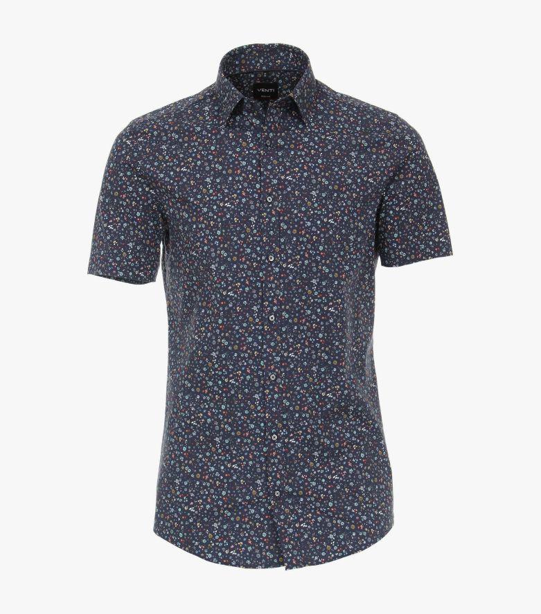 Businesshemd Kurzarm in 101 blau Body Fit - VENTI