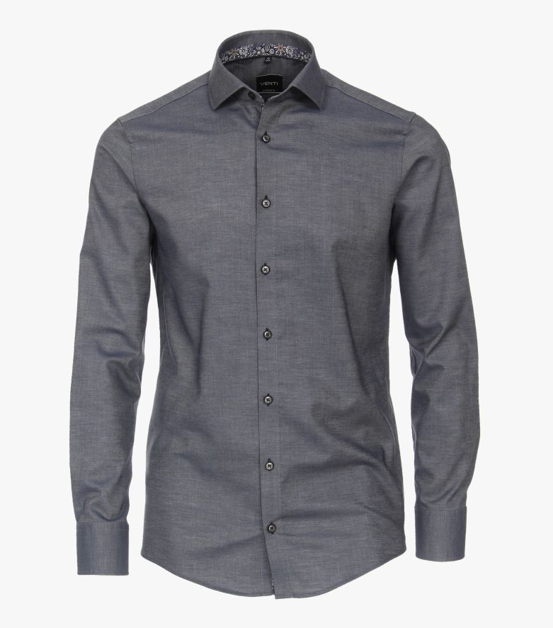 Businesshemd in graues Dunkelblau Modern Fit - VENTI