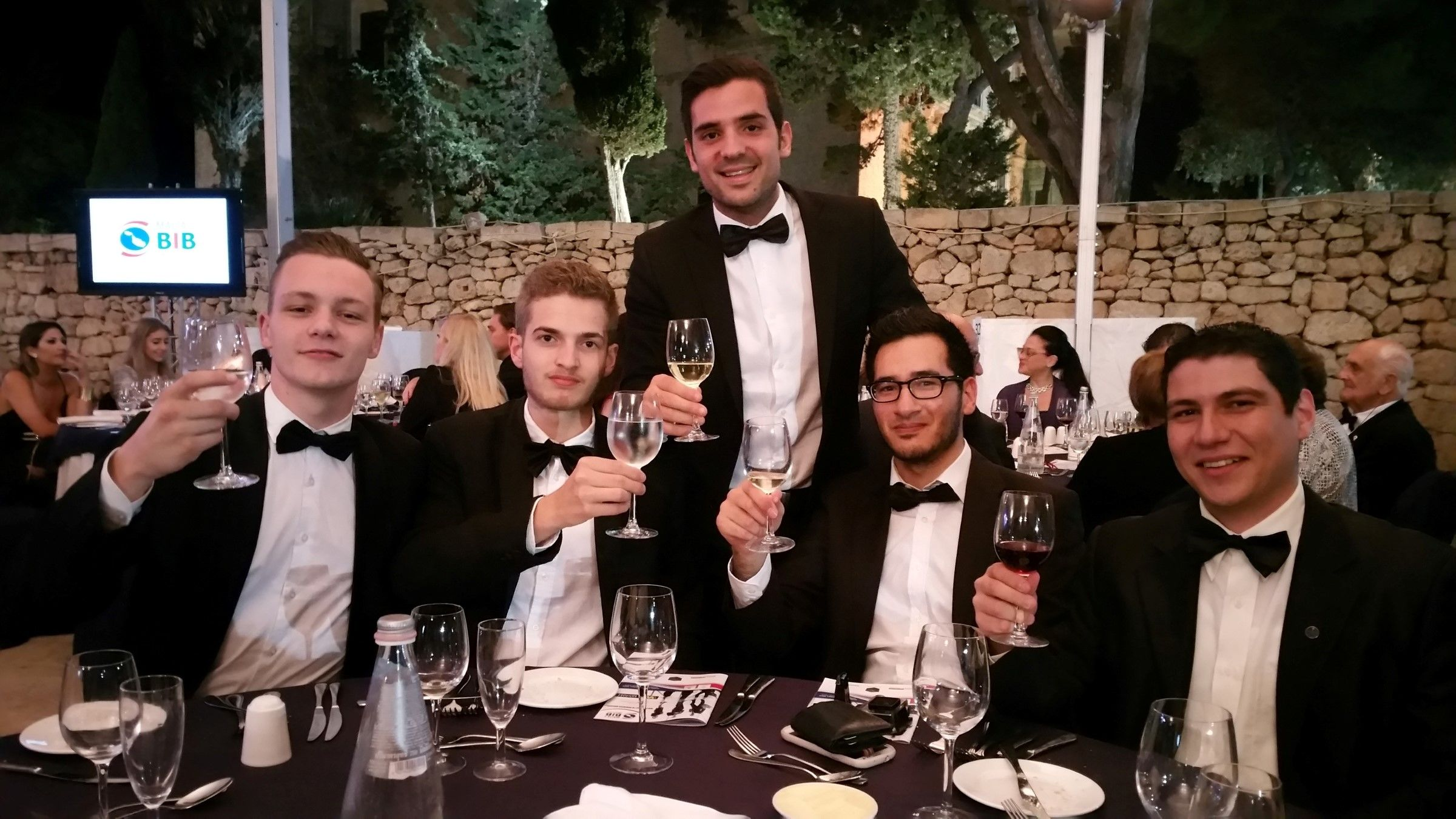 (from left to right) - Tom Visser, Lars Andringa, Mark Cassar, Fabian Abela & Simon Azzopardi.  The entire team at CasaSoft at the ceremony when we won Malta's 2015 Best in Business Online & Web Design Agency