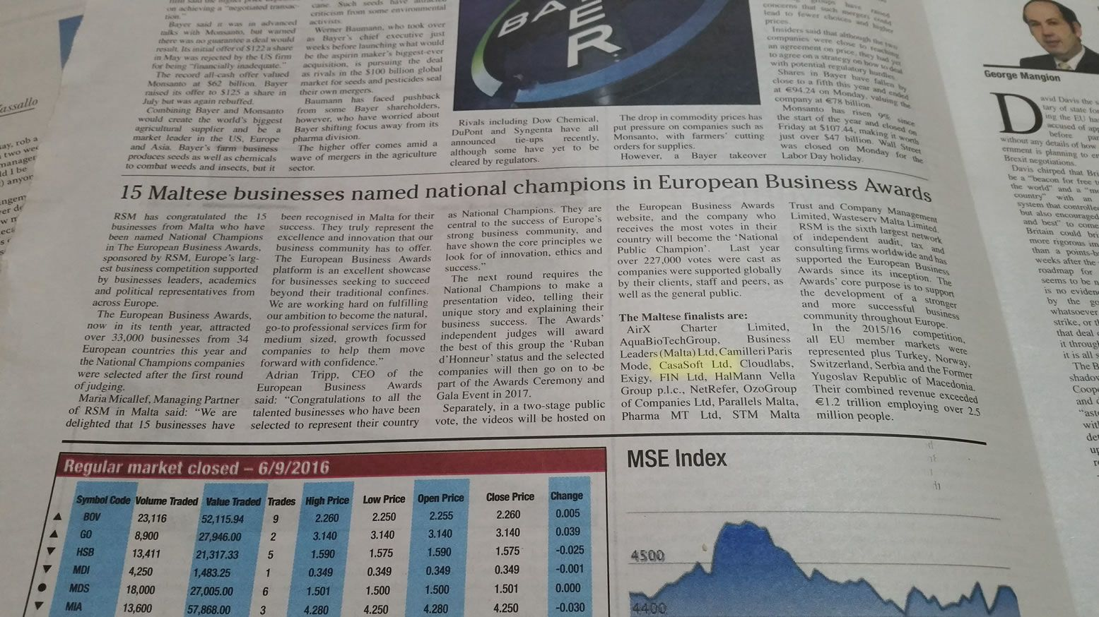 European Business Awards 2016/17 National Champions announcement article as featured on local newspaper, Malta Today