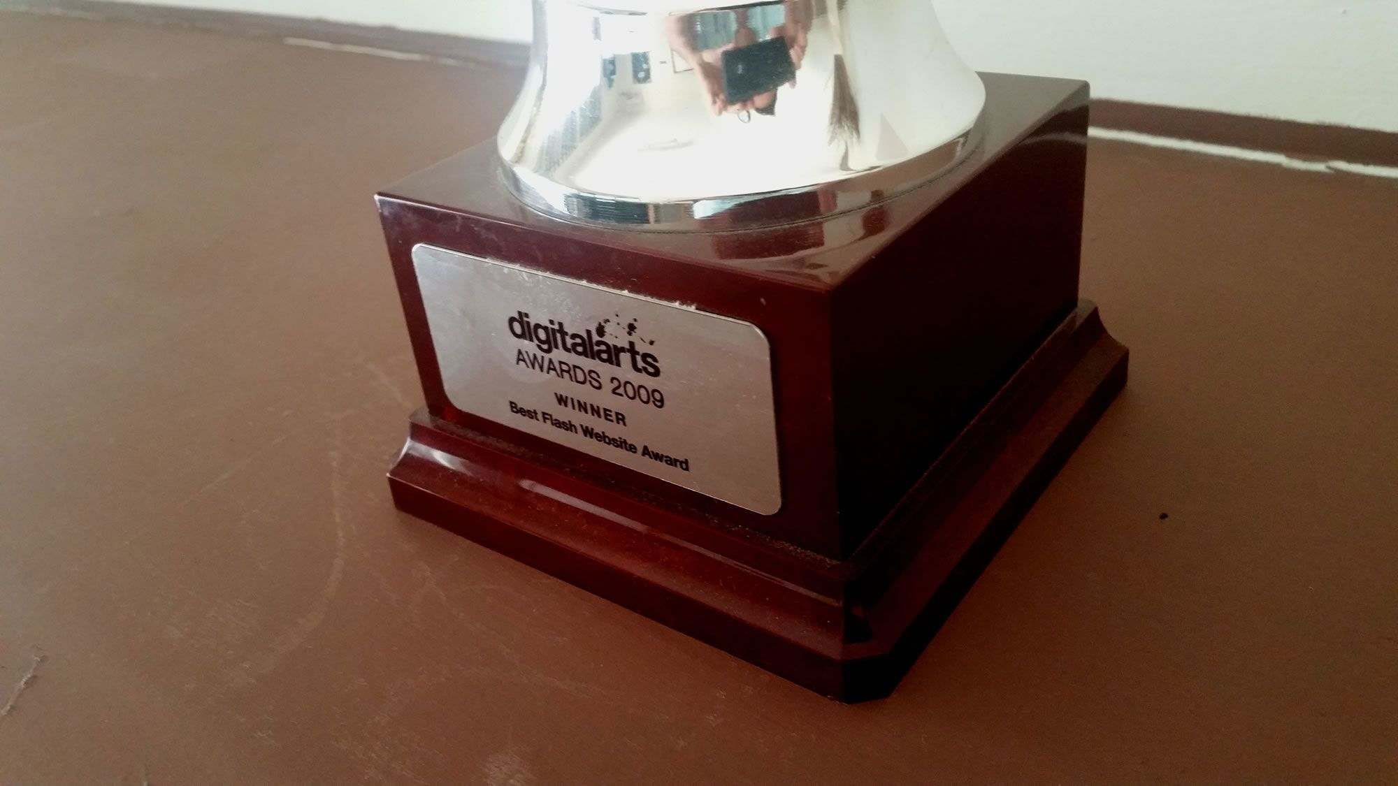 CasaSoft's Best Flash Website Award trophy which was awarded back in 2009 at the Digital Arts Awards 2009.