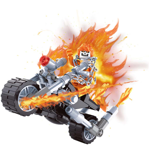 72-piece Flaming Motorcycle Block Set