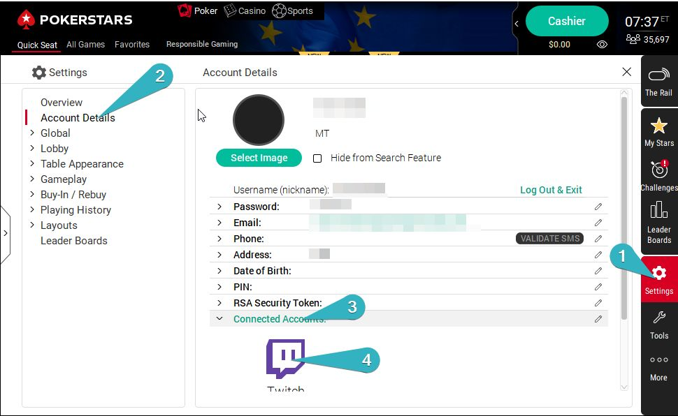 Initial Steps to link Stars account to twitch