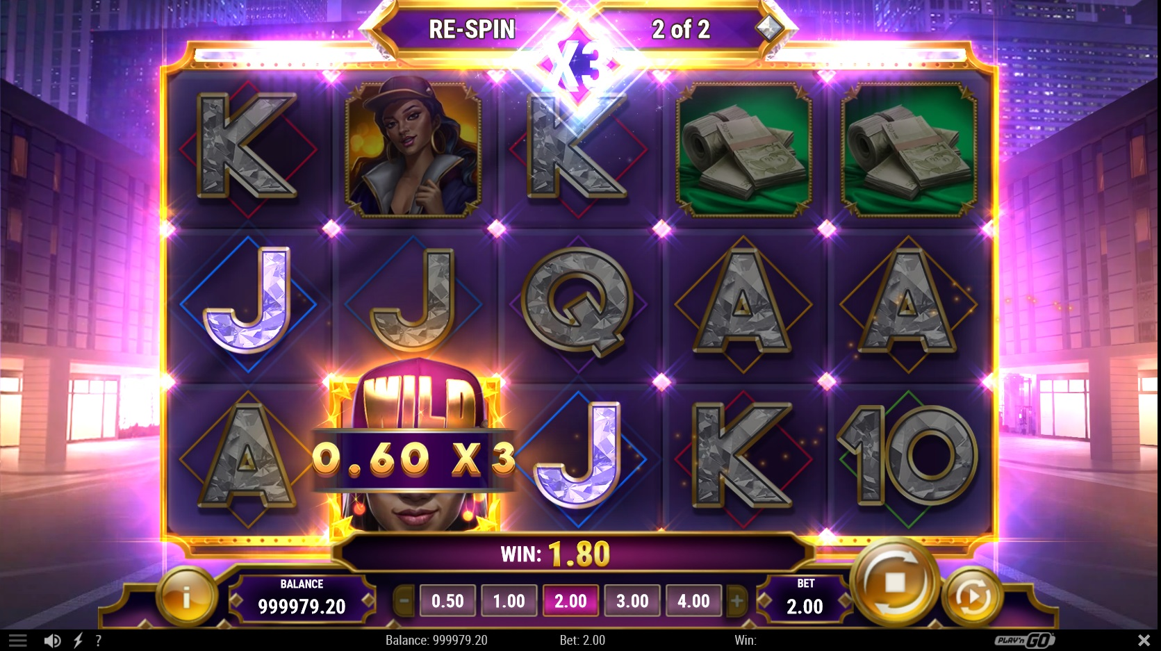 win spins triggered in blinged by play n go