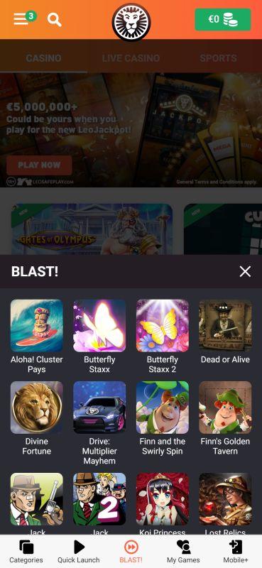 Blast enabled games at Leovegas