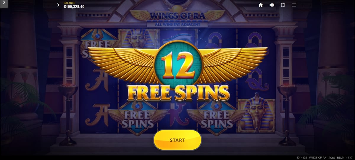 wings of ra free spins