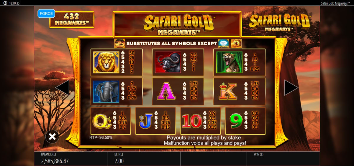 safari gold megaways paytable
