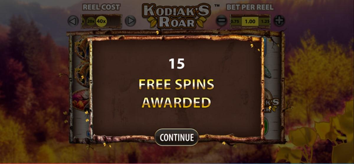 kodiaks roar free spins