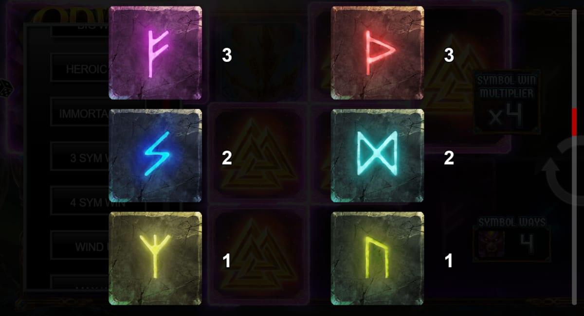 odin infinity reels low symbols