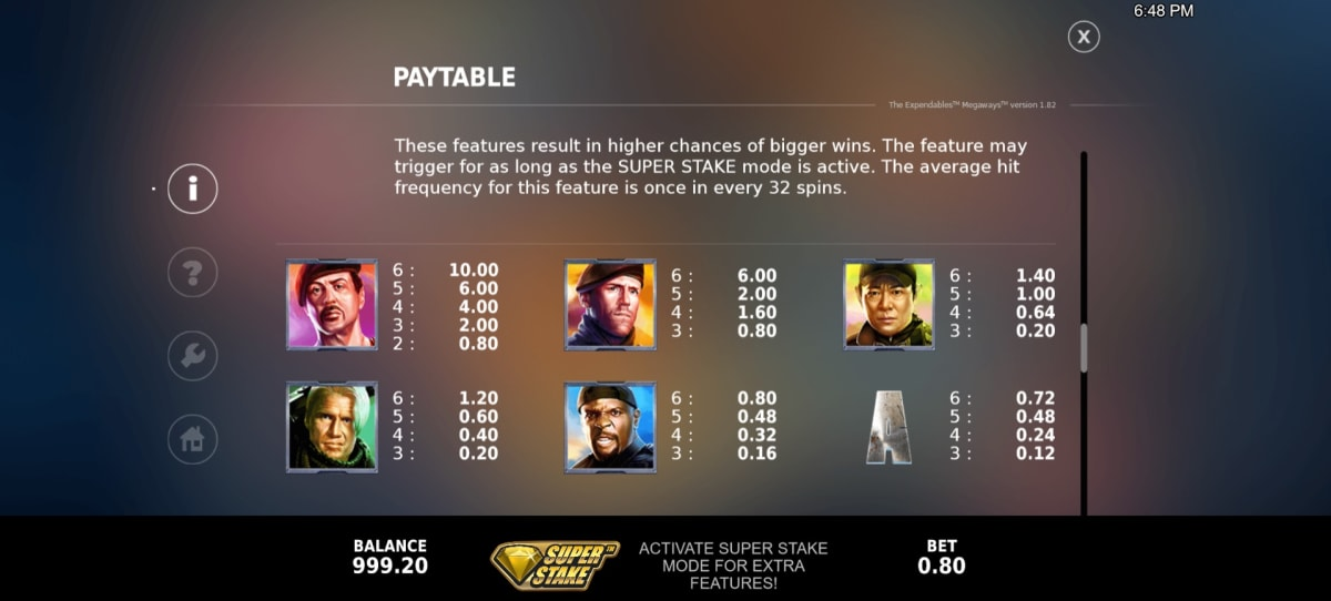 expendables paytable