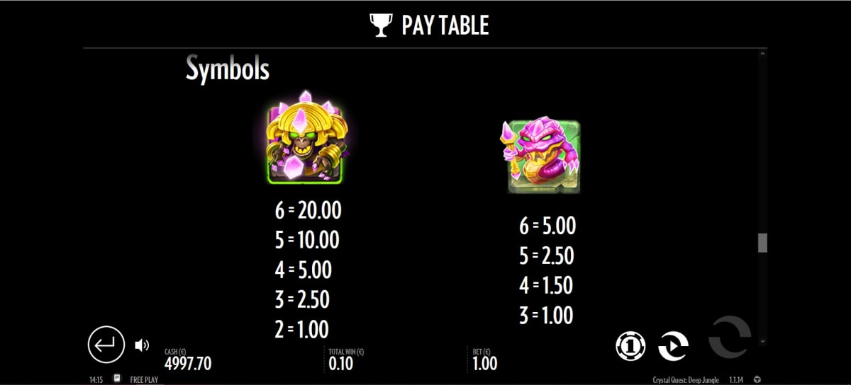 crystal Quest paytable