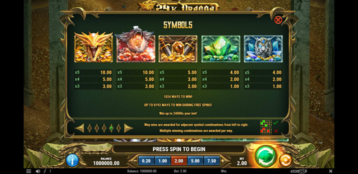 24k dragons paytable