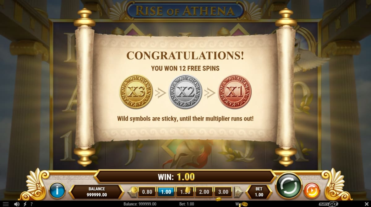 Rise of athena trigger free spins pic
