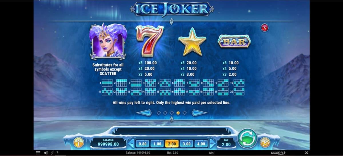 ice joker paytable 2