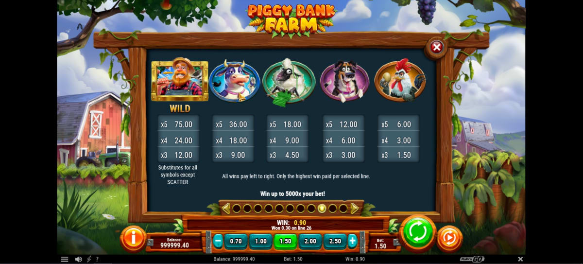 piggy bank farm paytable