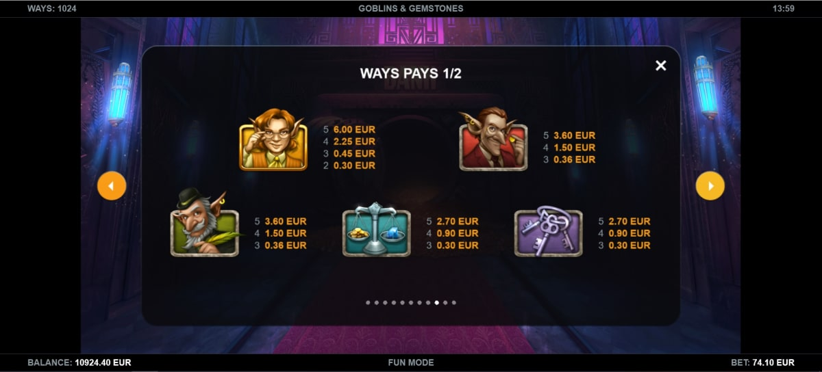 goblins and gemstones paytable